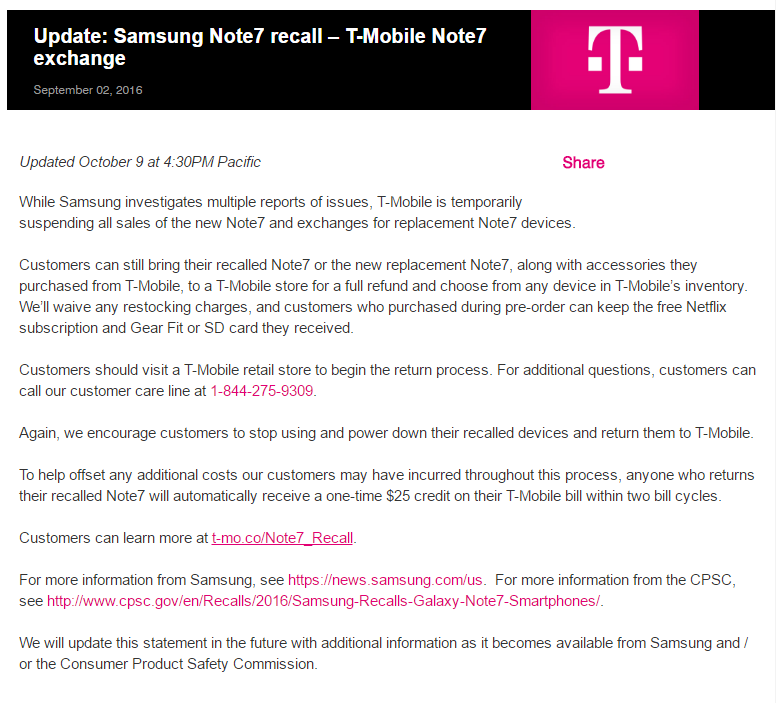 T-Mobile to discontinue selling Note 7 effective immediately